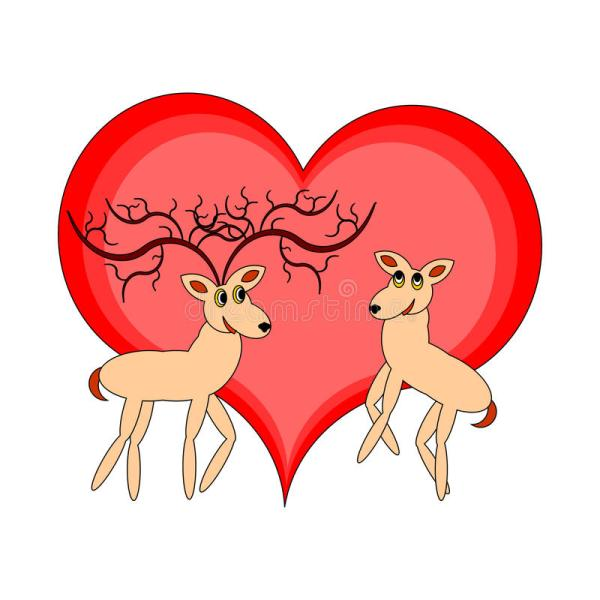 Cartoon Couple with Heart
