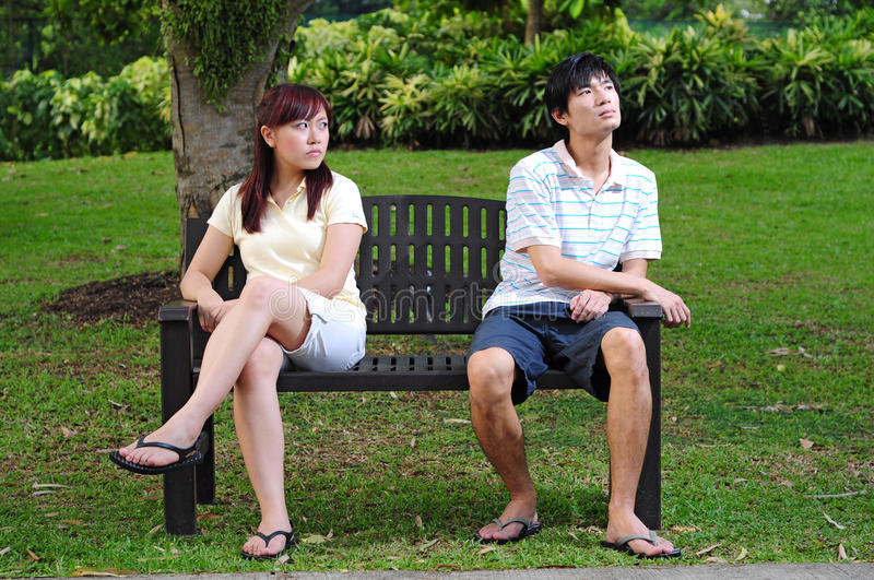 Couple In Love Sitting On Bench Angry 3 Stock Image  Image 14988907