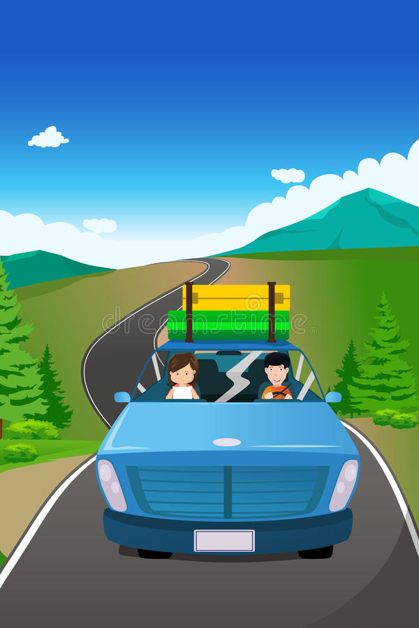 Couple Riding A Car Going On A Road Trip Stock Vector - Illustration of dating. auto: 33155645