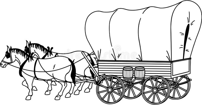 Covered Wagon stock vector. Illustration of road, wild