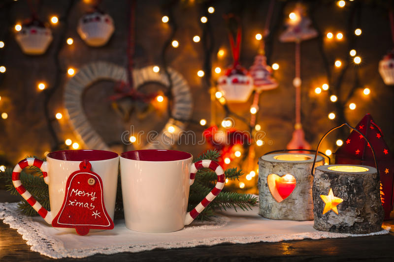 Fall Candles Wallpaper Cozy Christmas Stock Image Image Of Both Lights White