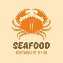 crab seafood restaurant menu silhouette vector emblem template