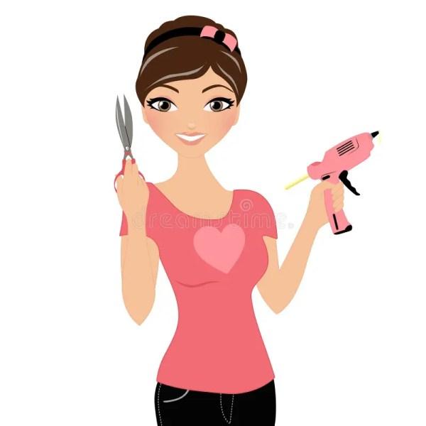 Woman with Scissors Clip Art