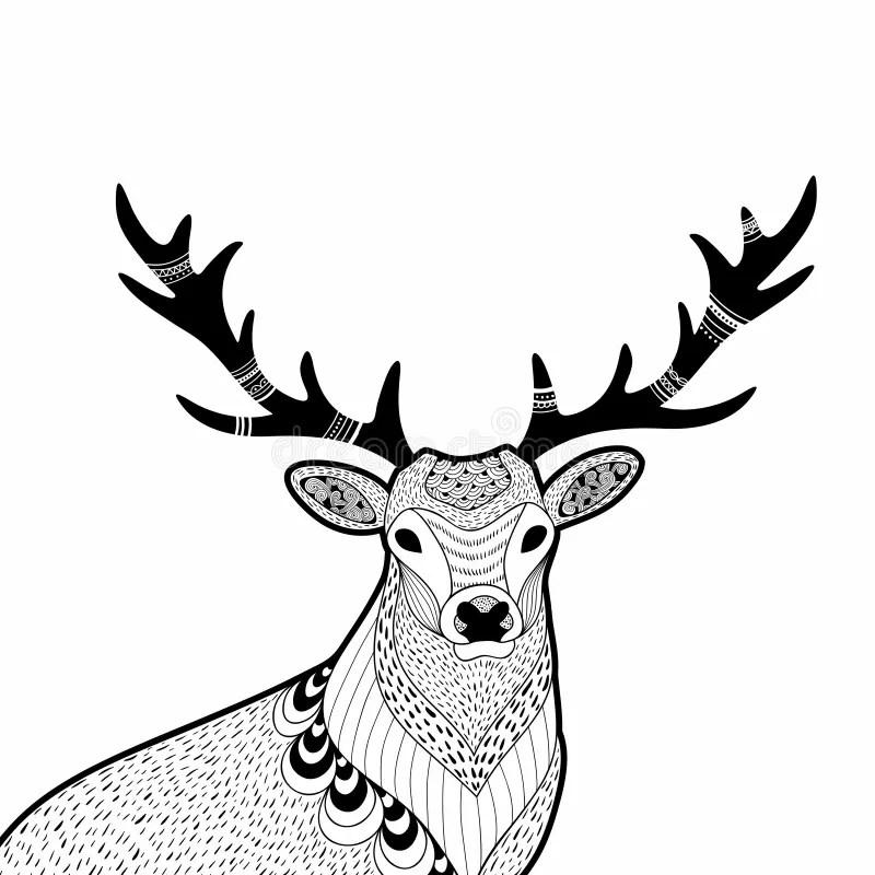 Creative Doodle Illustration Of Wild Deer, Hand Drawn For
