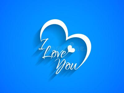 Creative Text Design Of I Love You On Blue Color ...