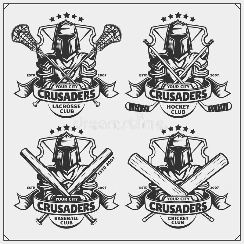 Hockey emblems with flags. stock vector. Illustration of