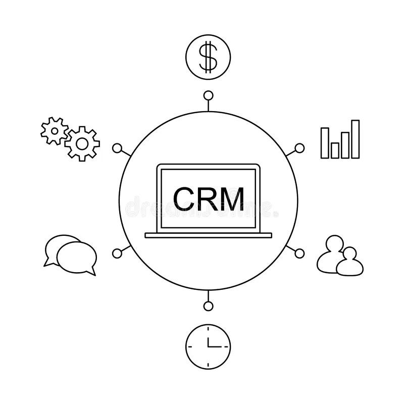 CRM Customer Relationship Management Concept Flat Vector