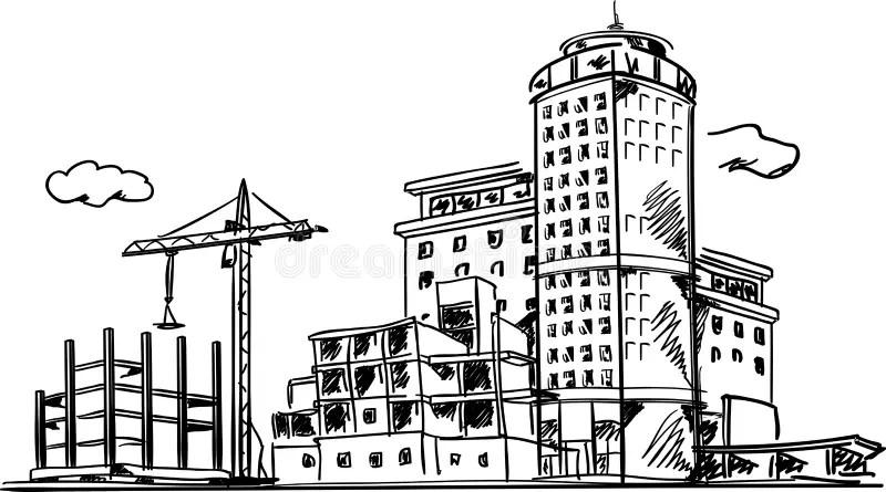 Croquis De Construction De Ville Illustration de Vecteur