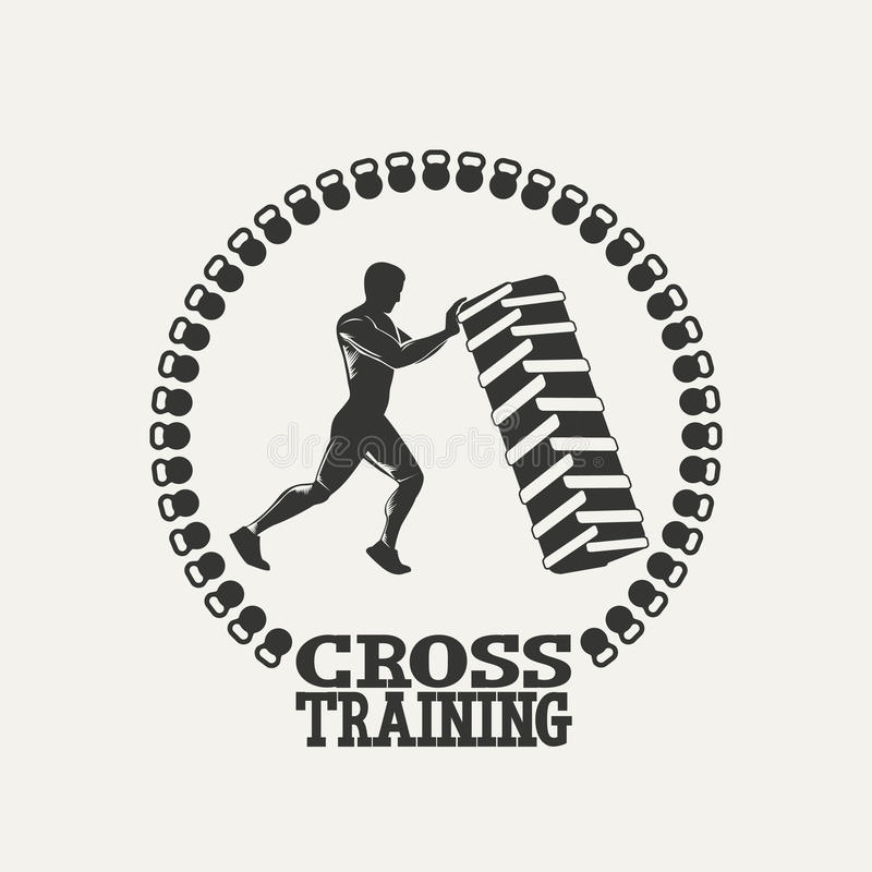 Cross Fitness And GYM Logo White Stock Vector