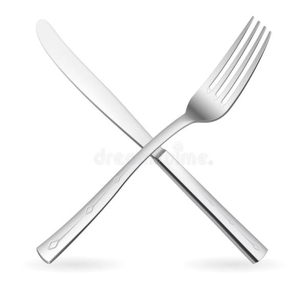 Crossed fork and knife stock vector Illustration of
