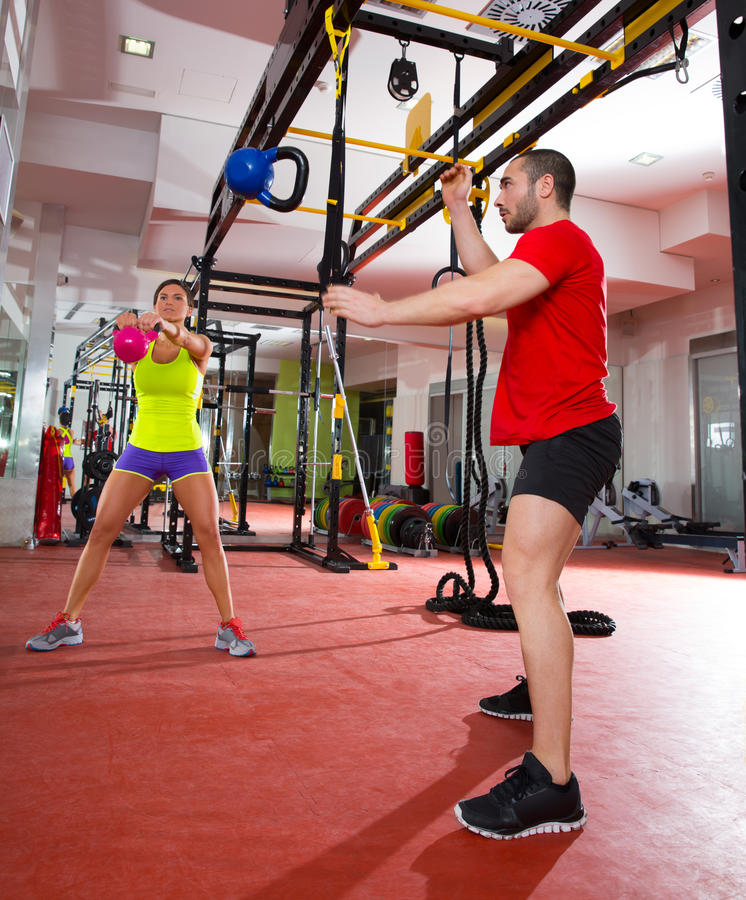Crossfit Fitness Kettlebells Swing Exercise Workout At Gym ...