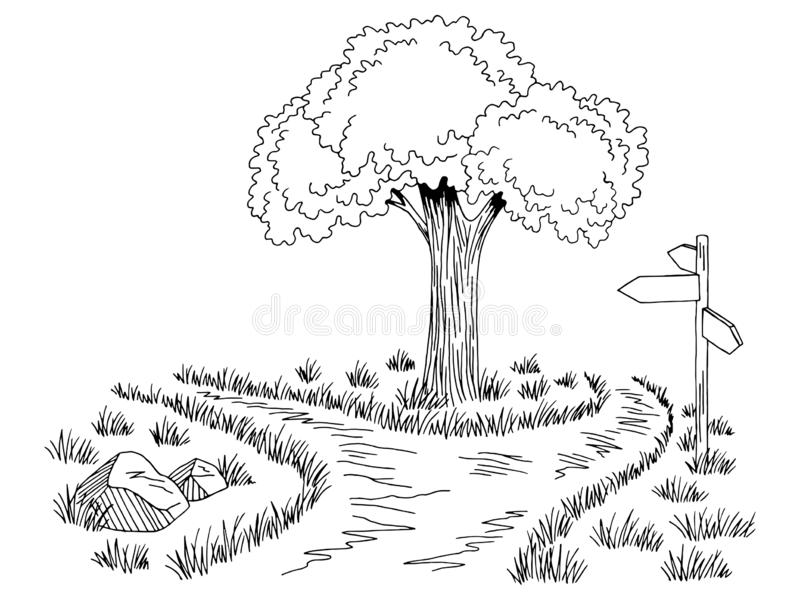 Crossroad Pathway Graphic Black White Landscape Sketch