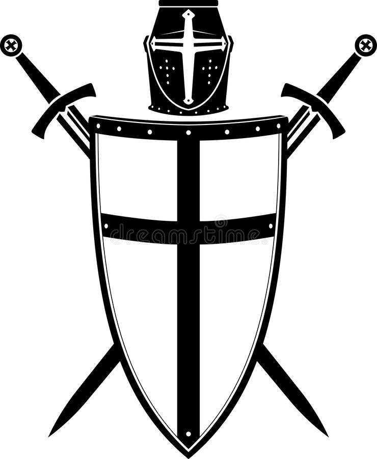 Crusader's Crest, Armor Helmet And Sword Stock Vector