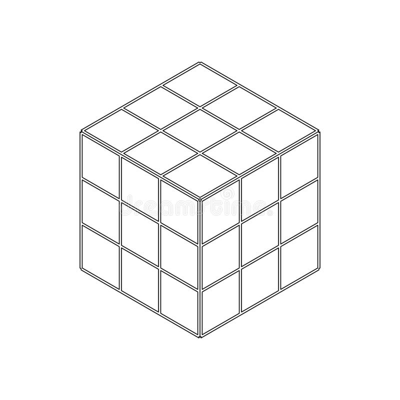 Isometric Cube Toy Puzzle, 3x3 Square. Rubiks Cube On A