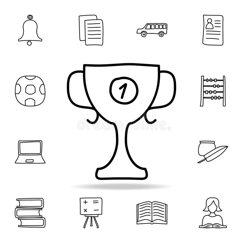 First Place Medal Sketch Icon. Element Of Education For