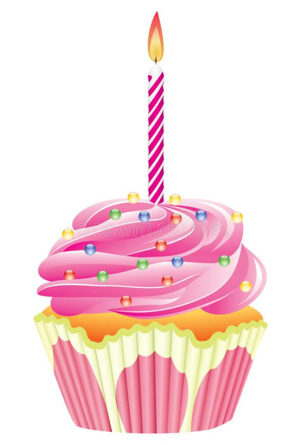 cupcake with burning candle stock