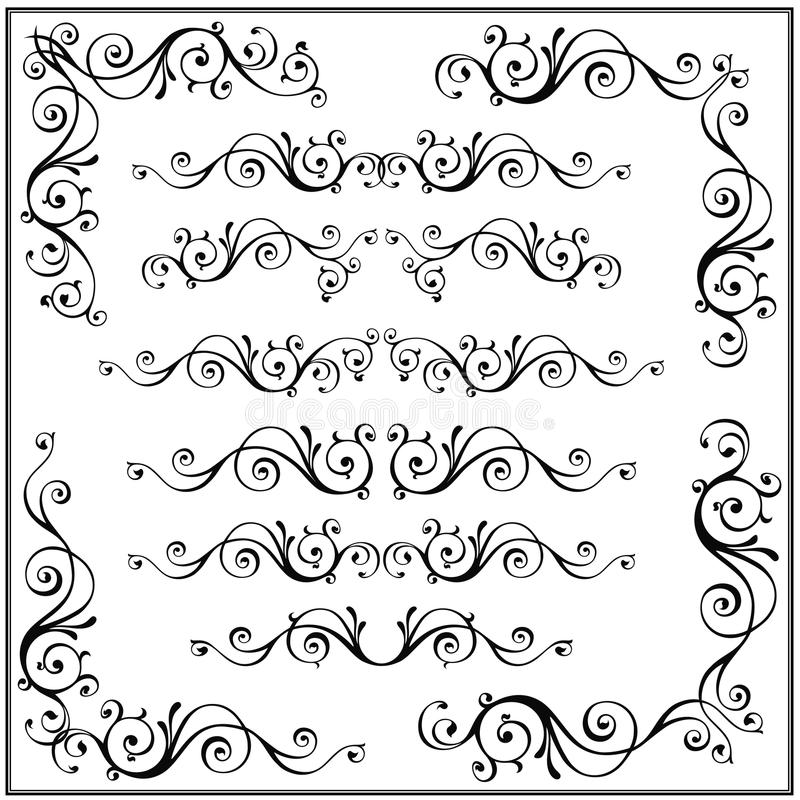 Set Of Curled Calligraphic Design Elements Vector Illustration