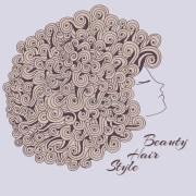 curly girl stock vector. illustration