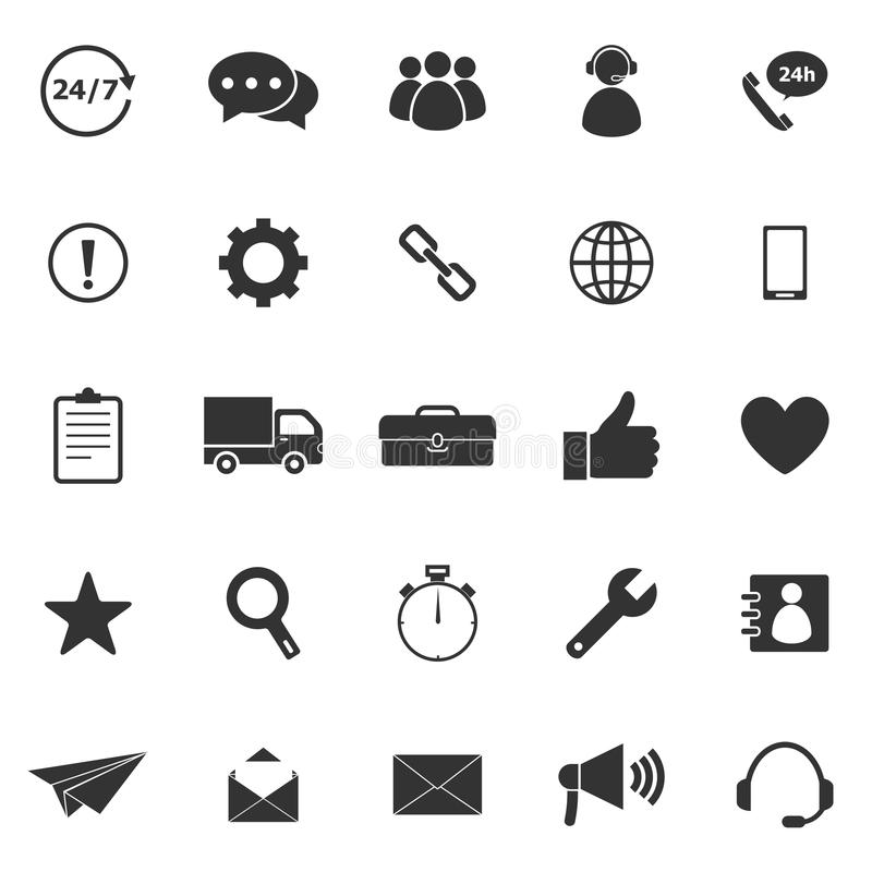 Customer Service Icons With Reflect On Black Background