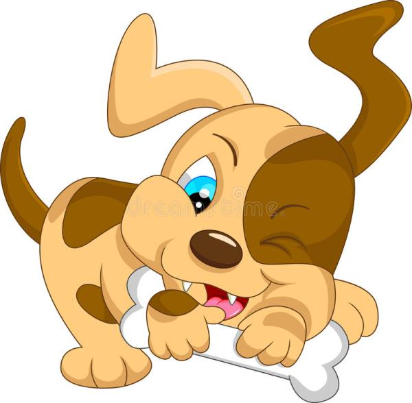 Cute Baby Dog Cartoon With Bone Stock Vector Image 46596415