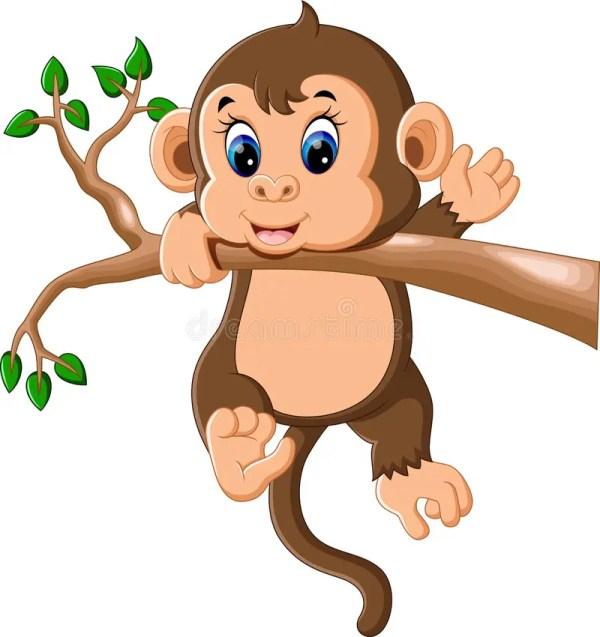 cute baby monkey cartoon stock