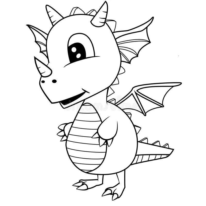 Cute Black And White Cartoon Baby Dragon Stock Vector