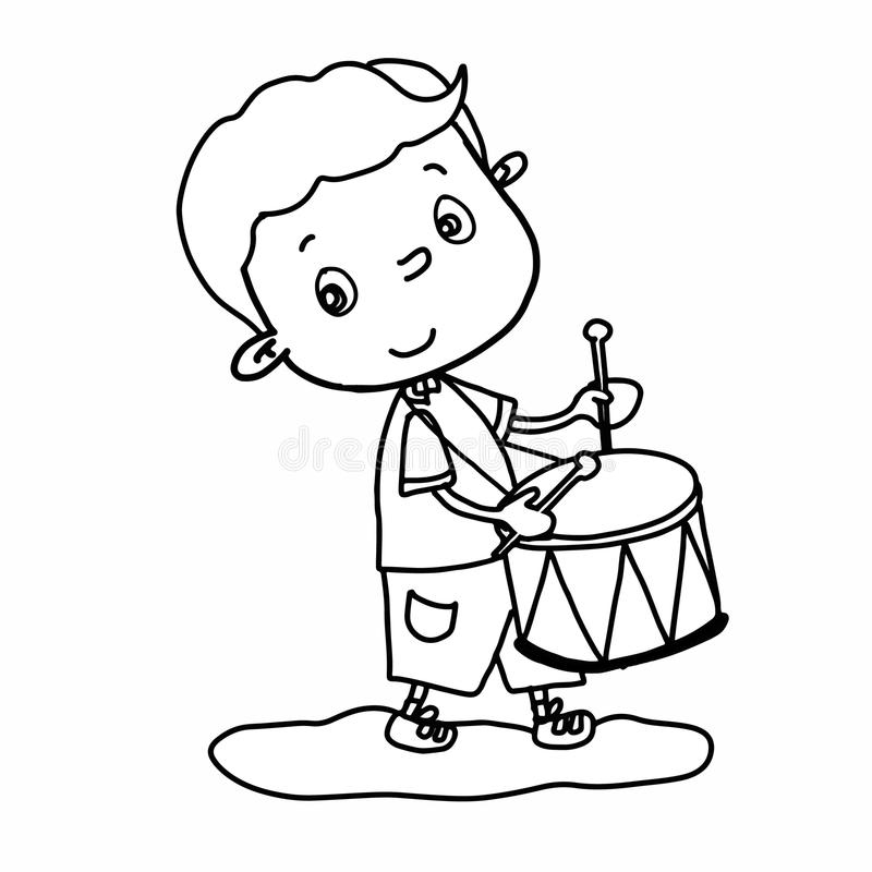 Cute Boy Cartoon Illustration Drawing Playing Drum And