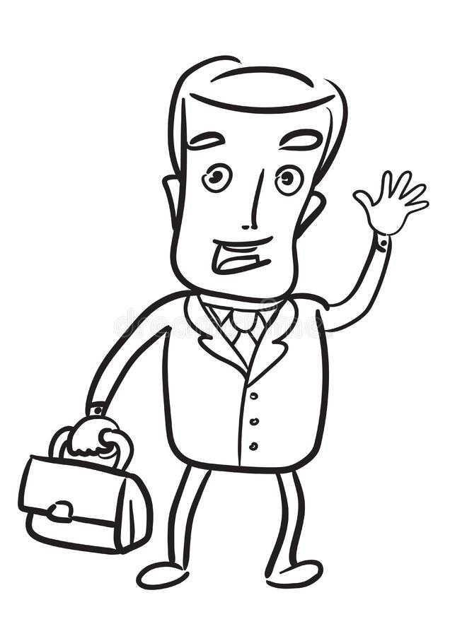 Cute Businessman With Briefcase Stock Vector