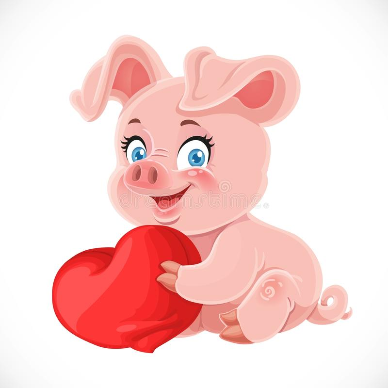 And Pig Heart Black White Clip Art