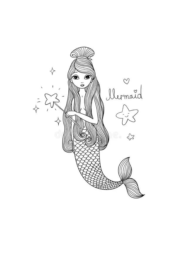 Cute Cartoon Little Mermaid. Siren. Sea Theme. Stock