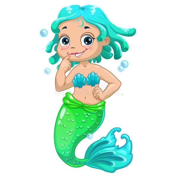 Cartoon Mermaid with Blue Hair