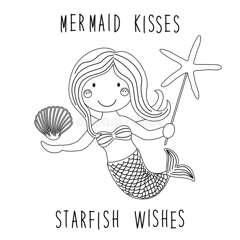 Coloring Page Mermaid By The Sea Stock Vector