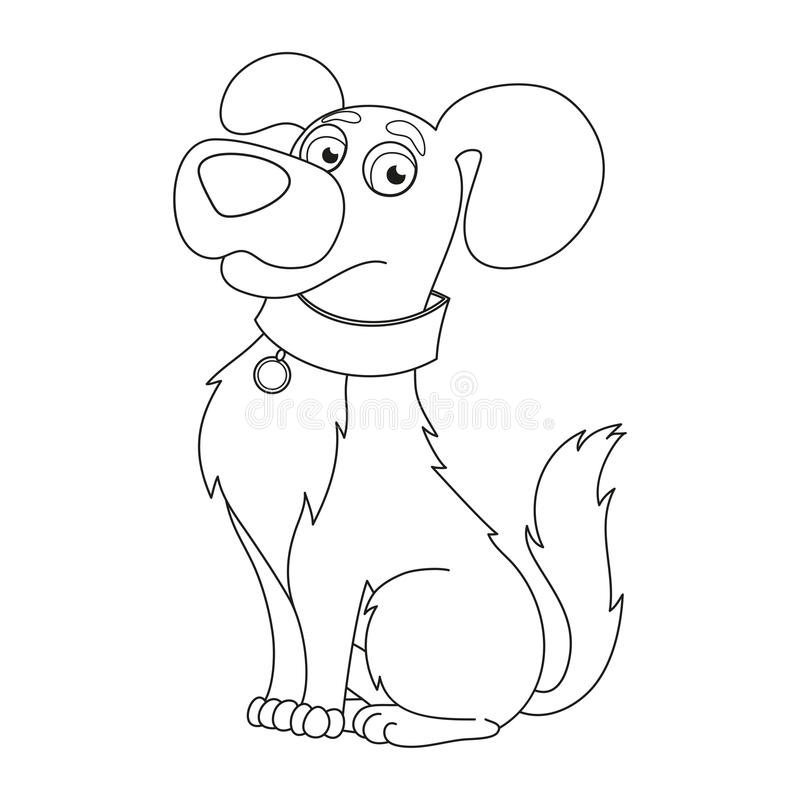 Cute Dog, Coloring Book Page For Children Stock Vector