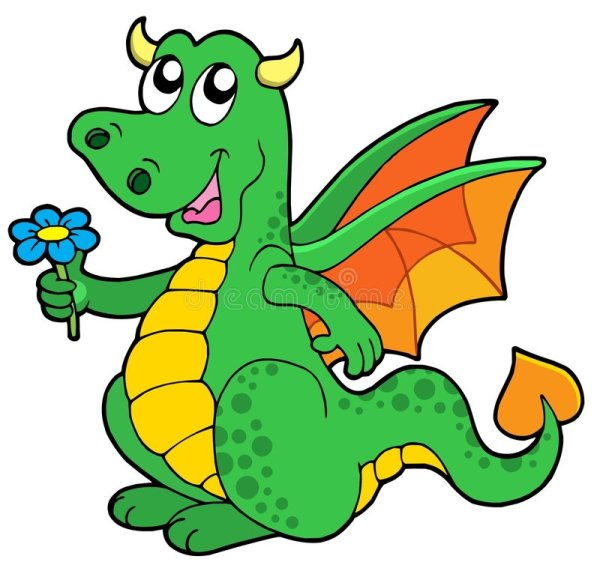 cute dragon with flower stock vector