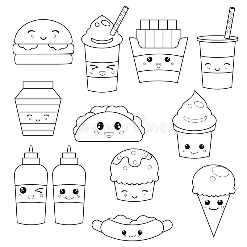 Cute fast food meals stock vector. Illustration of