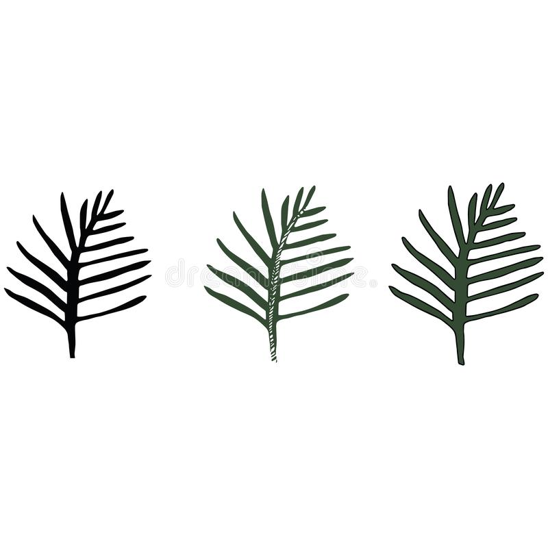 Lush vegetation in jungle stock illustration. Illustration