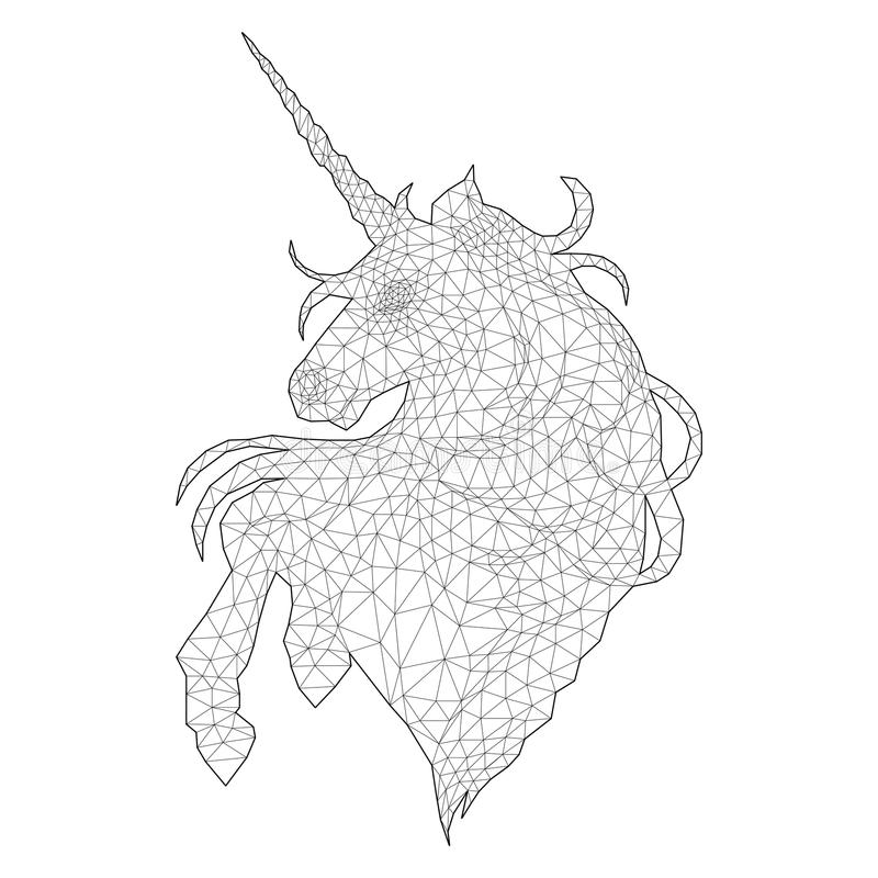 Graphic Unicorn In Stippling Technique Stock Vector