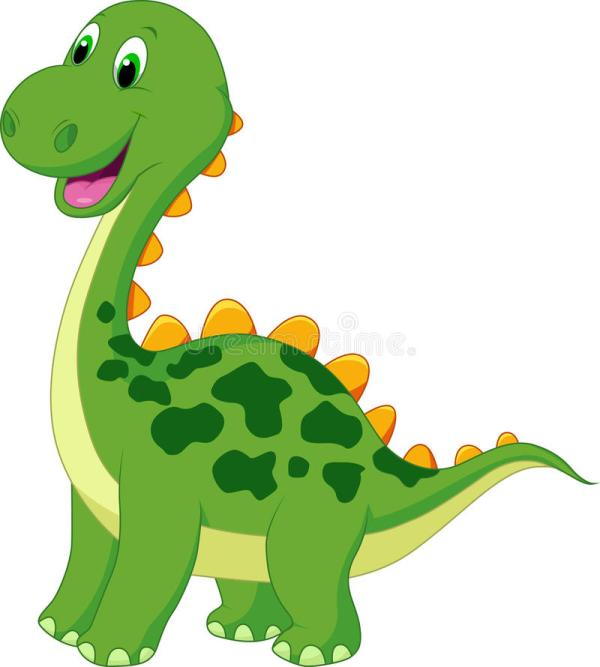 cute green dinosaur cartoon stock