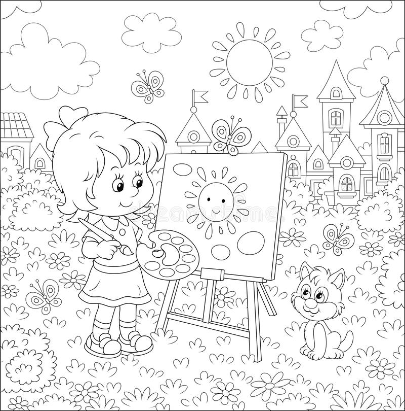 Smiling Little Girl Coloring Page Stock Illustration