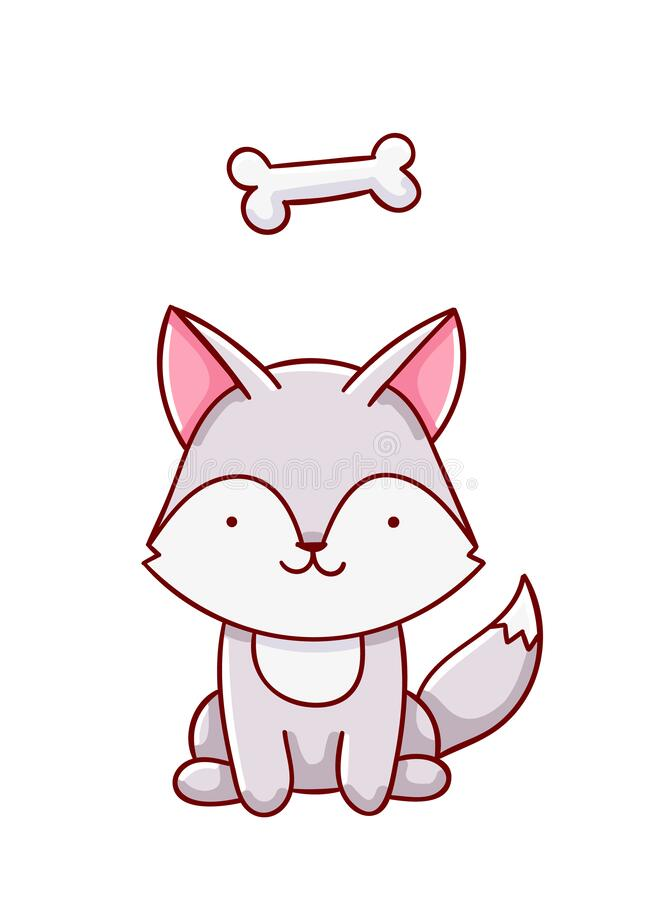 Cute Kawaii Wolf : kawaii, Kawaii, Drawn, Doodles,, Isolated, White, Background, Stock, Vector, Illustration, Wild,, White:, 175962498