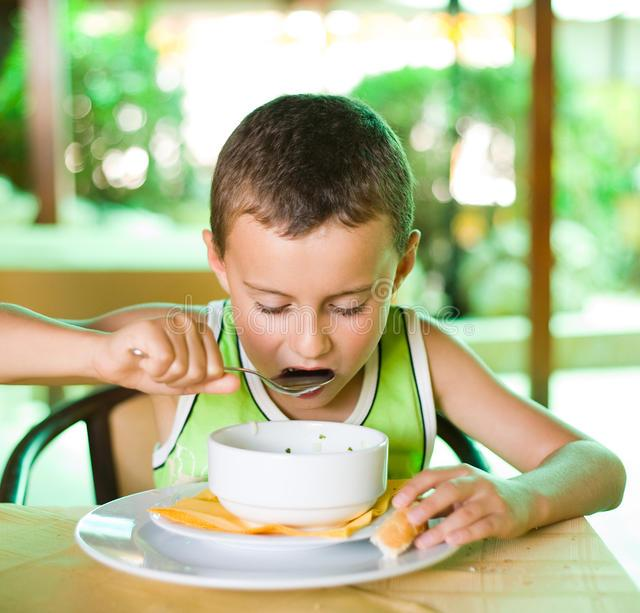Image result for kid drinking soup