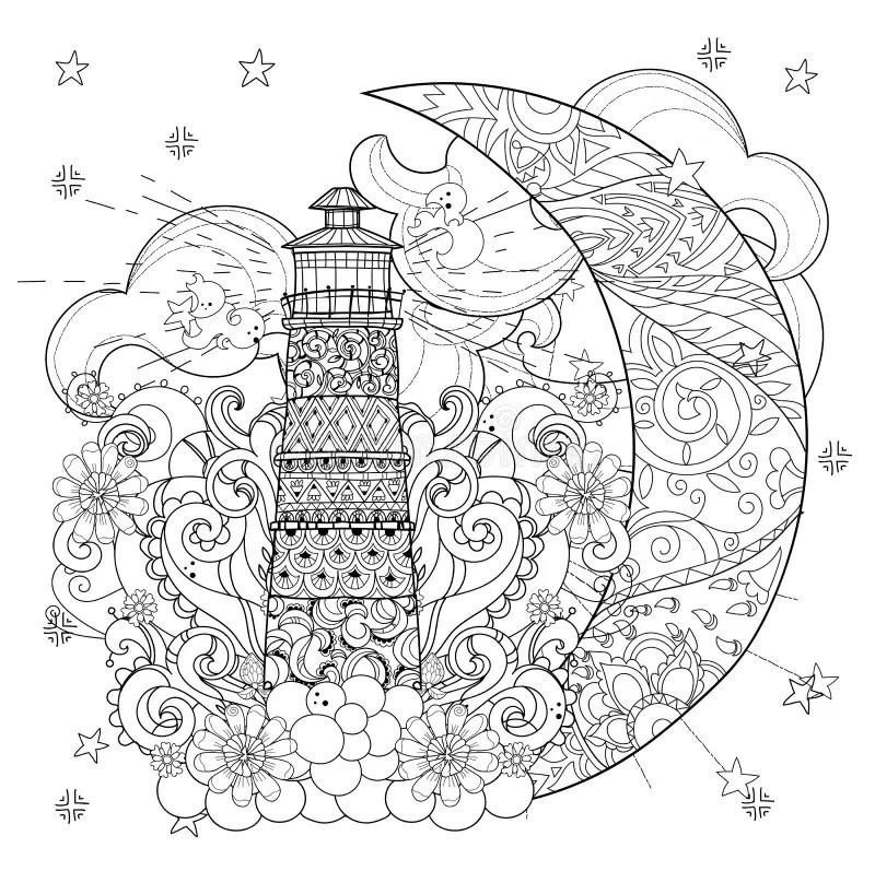 Cute Lighthouse On Christmas Half Moon Stock Vector