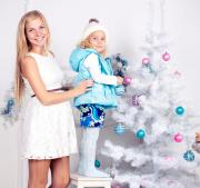 cute little girl with mom decorating