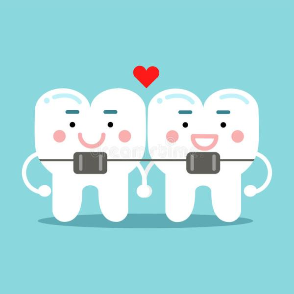 Cute Smiling Cartoon Teeth Characters With Orthodontic