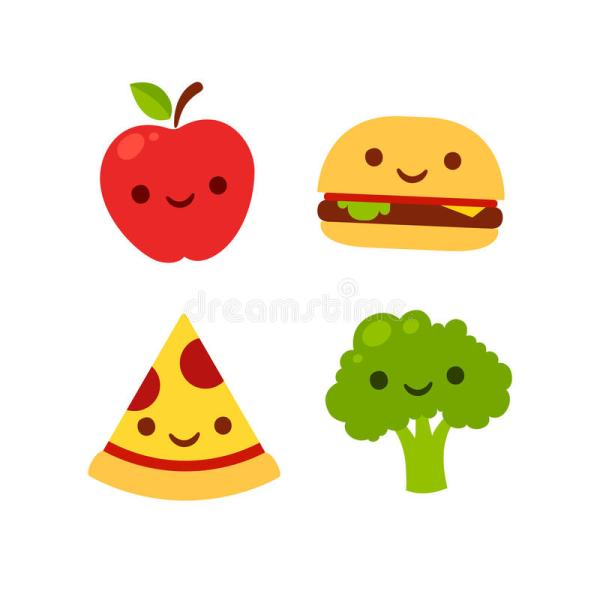 Cute Cartoon Foods with Fruit Faces
