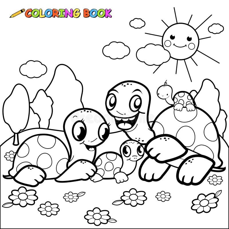 Cute turtle family. stock vector. Illustration of tortoise