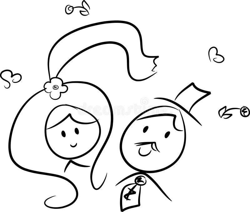 Cute Wedding Couple stock vector. Illustration of