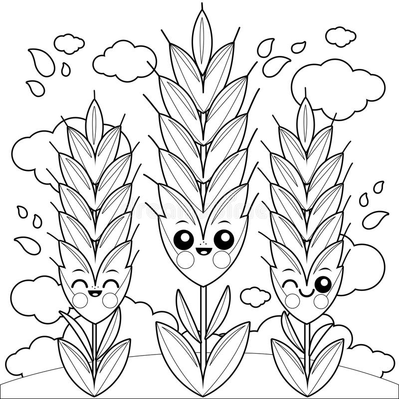 Field With Wheat Characters. Coloring Book Page Stock