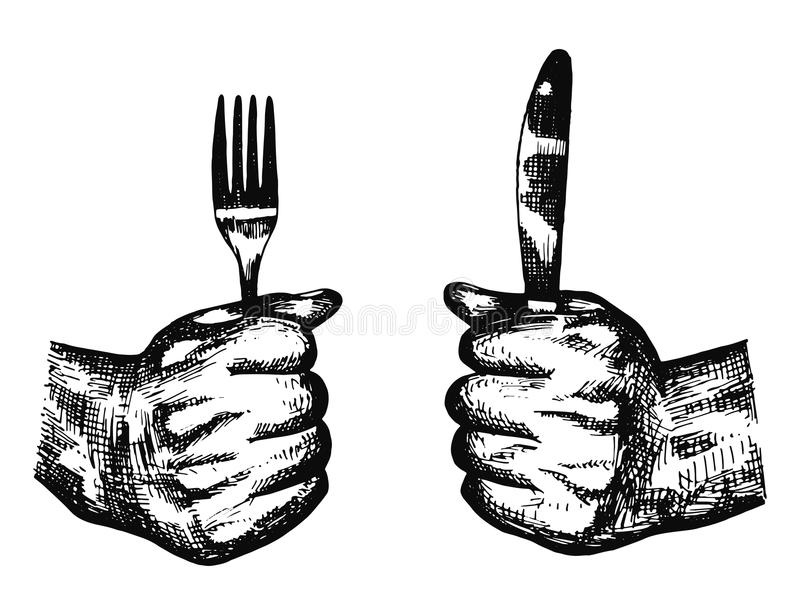 Holding A Fork And Knife Cutlery Vector. The Plate On The