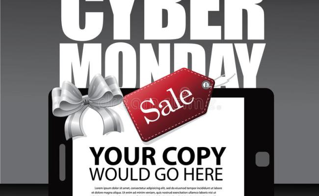 Cyber Monday Ad Layout With Smartphone Bow And Tag Stock